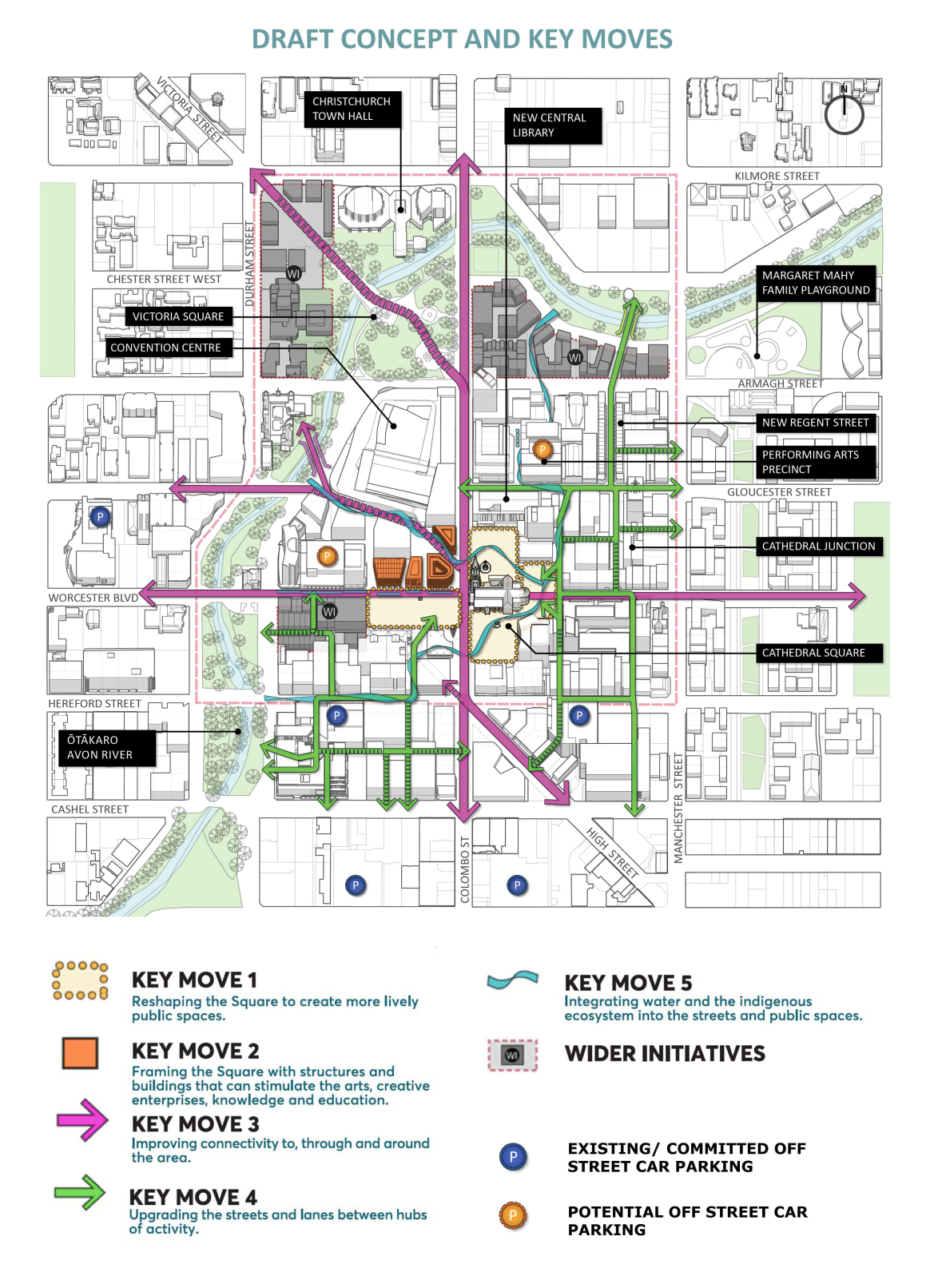 Plans and reality in central city christchurch how graphic design where the blueprint map presented blocks dedicating large portions of faceless land the cathedral square map zooms in and introduces arrows describing malvernweather Image collections
